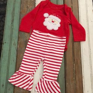 Santa outfit with ruffle bottom legs.
